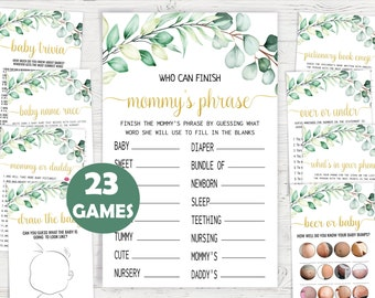 Eucalyptus Baby Shower Game,Printable Baby Shower Game Bundle,Gold Greenery Baby Shower Games,Printable Game Bundle,Instant download