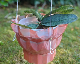 Recycled Plastic Orchid Planter - Hanging Flower Planter Pots - Unique Hanging Wall Planter - Plastic Air Planter - 03 Deco Style