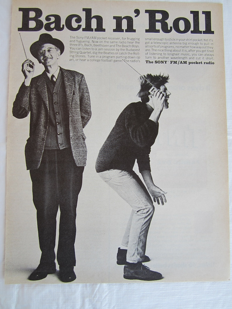great to frame Original Advertising 1965 Life Magazine Vintage 1965 Sony Pocket Radio FM  AM