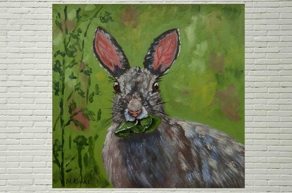 Hare Painting Bunny Original Art Small Rabbit Wall Art Decor Woodland Animal Artwork Wildlife Art Mini 8 by 10 by RivasArtShop