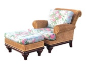 Henry Link Rolled Arm Wicker Armchair and Ottoman