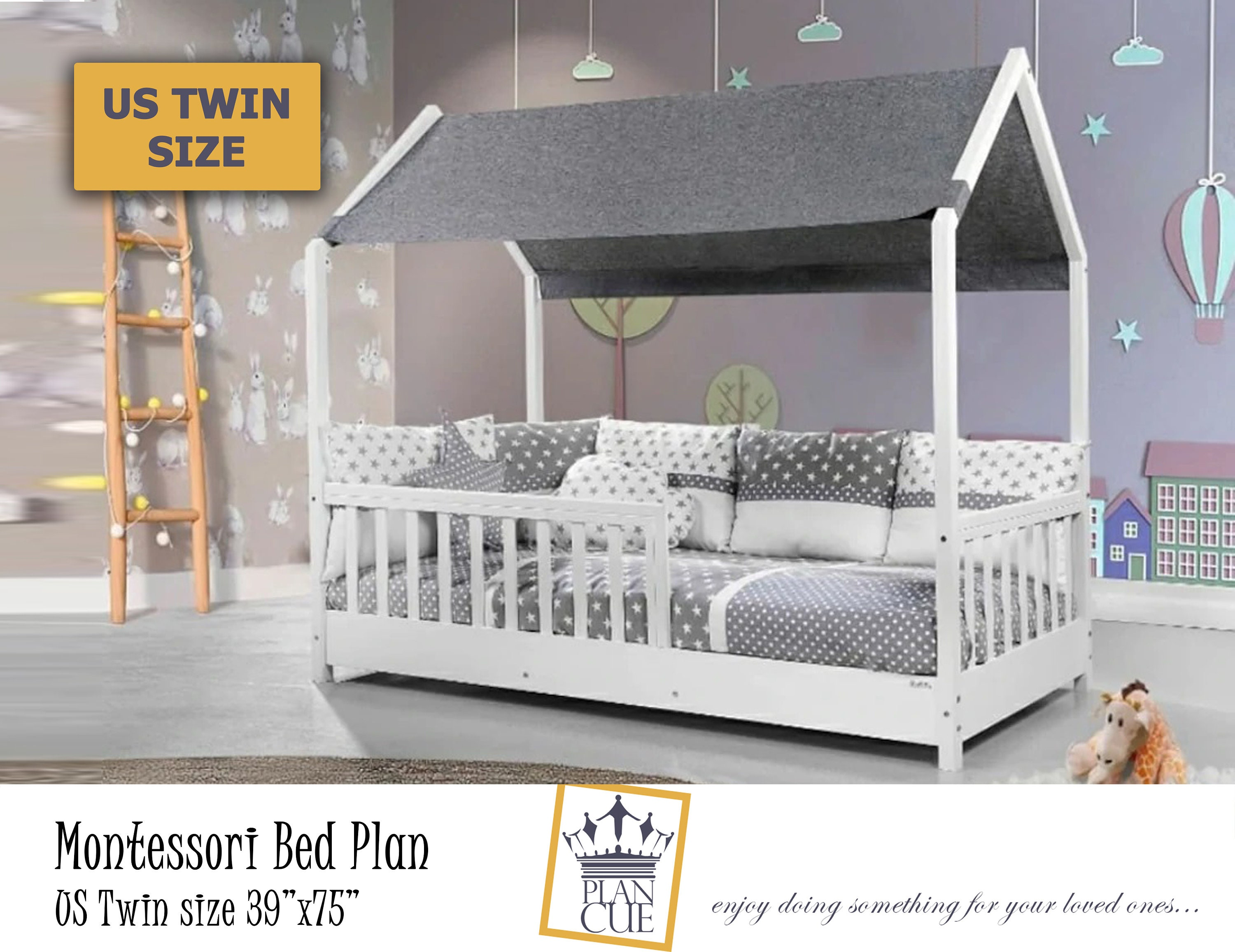 Montessori Twin Toddler House Bed Plan Wooden Twin Bed Frame Easy Diy Plan For Toddler Floor Bed To Kids Bedroom