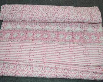 Handmade Cotton Vintage Block Print Kantha Quilt Indian Bedspread Single Blanket