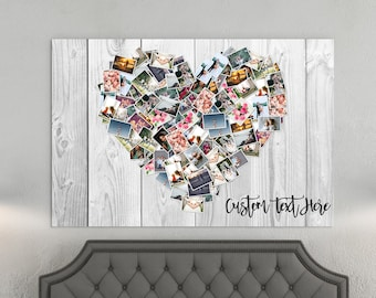 100 Pictures Family Photo Heart Collage Personalized Large Collage- Heart Collage Canvas - Photo your picture to canvas gift
