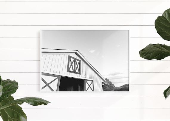 Black and White Farmhouse Wall Decor, Rustic Decor, White Barn Photo, Rustic White Barn, White Barn Print