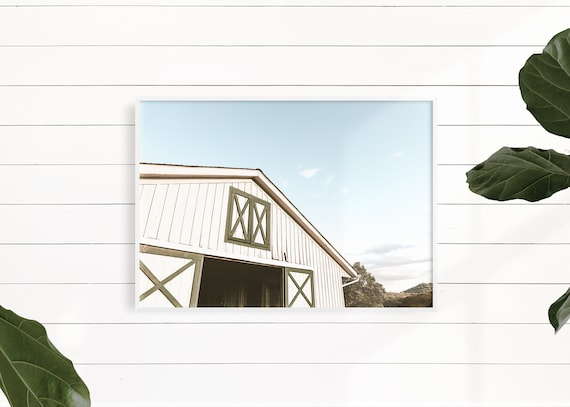 Green and White Farmhouse Wall Decor, Rustic Decor, White Barn Photo, Rustic White Barn, White Barn Print, Green Barn Print