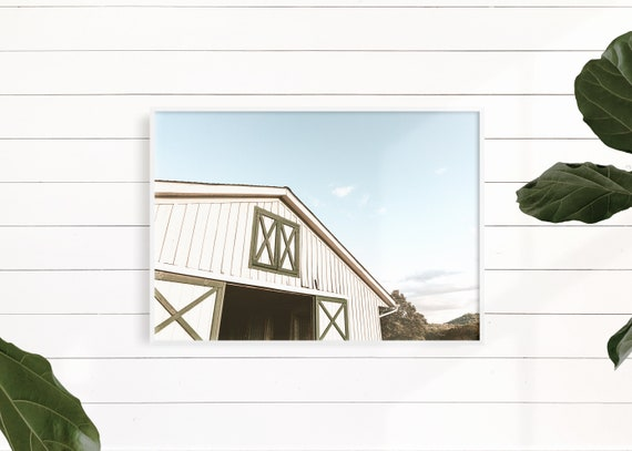 Green and White Farmhouse Wall Decor, Rustic Decor, White Barn Photo, Rustic White Barn, White Barn Print, Green Barn Print