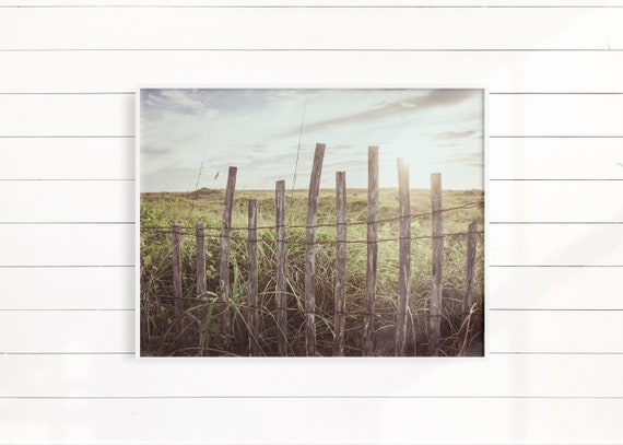 Beach Print Wall Art, Beach Fence Photography, Minimalist Landscape Home Decor, Gift For Her, Housewarming Gift