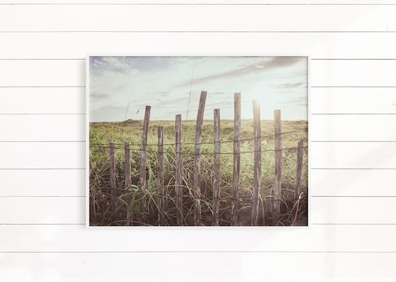 Beach Print Wall Art, Beach Fence Photography, Minimalist Landscape Home Decor, Gift For Her, Housewarming Gift