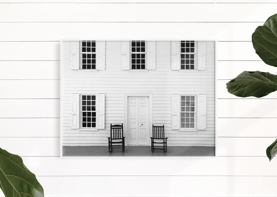 Black And White Farmhouse Decor, Rustic Country Home Decor, Farmhouse Wall Art Print, White Farmhouse Photography, Front Porch
