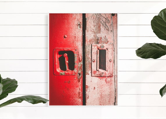 Red Farmhouse Decor, Red Rustic Door, Urban Wall Art, Primitive Fixer Upper Decor, Wall Art Print, Country Art