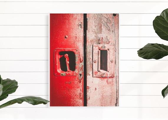 Red Farmhouse Decor, Red Rustic Door, Urban Wall Art, Primitive Fixer Upper Decor, Wall Art Print, Country Art