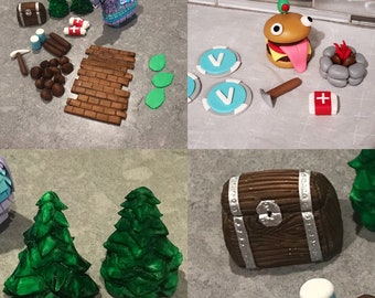 Fondant Cake Toppers. llama, axe, chest, rocks, bandage, tree Fondant battle Cake Toppers.