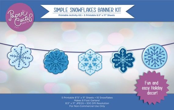 Printable Simple Snowflakes Banner Kit  DIY Christmas Decor