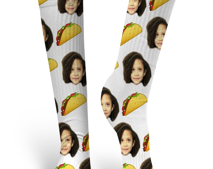 Custom Face Socks, Custom Photo Socks, Custom Socks, Personalized Socks, Custom Socks, Picture Socks, Taco Socks