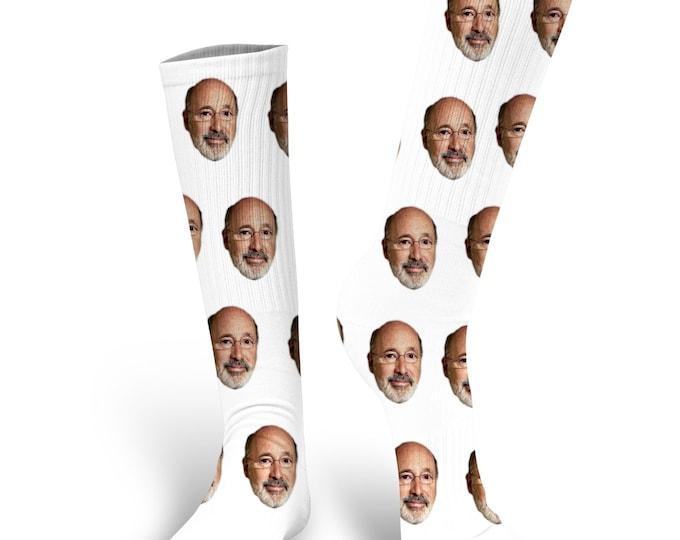 Custom Face Socks, Governor Tom Wolf  Socks, Wolf Socks, Tom Wolf Face Socks, Governor Tom Wolf