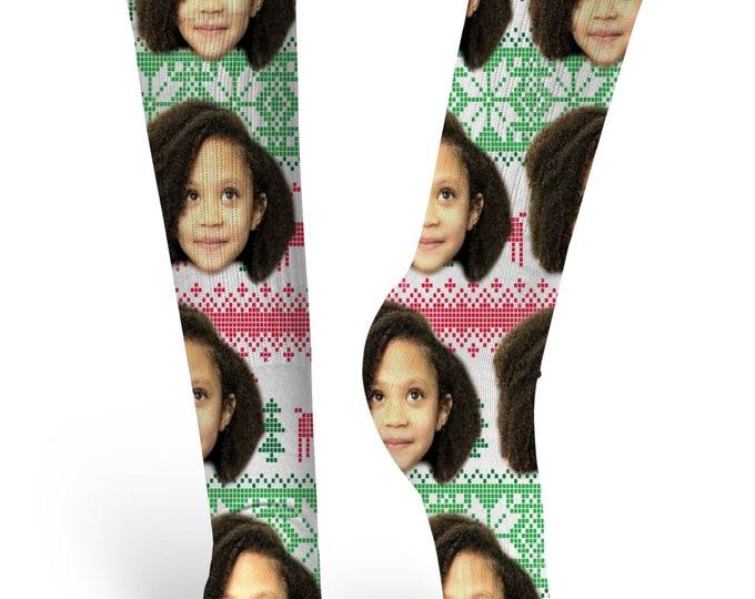 Custom Face Socks, Custom Photo Socks, Personalized Socks, Custom Printed Socks, Picture Socks, Christmas Socks, Ugly Christmas Sweater Sock