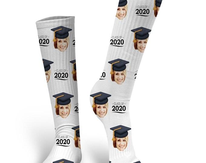 Custom Face Socks, Custom 2020 Graduation Socks, Custom Photo Socks, Custom Socks, Personalized Socks, Picture Socks, 2020 Graduation Socks
