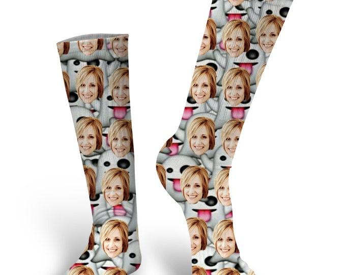 Custom Face Socks - Halloween Socks - Ghost Emoji Socks - Custom Socks - Custom Photo Socks - Dog Socks