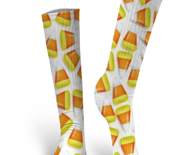 Halloween Socks - Custom Halloween Socks- Candy Corn Socks - Candy Corn