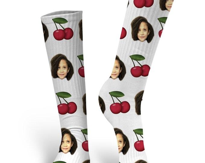 Custom Face Socks, Custom Cherry Socks, Custom Photo Socks, Custom Socks, Personalized Socks, Picture Socks, Cherry Socks