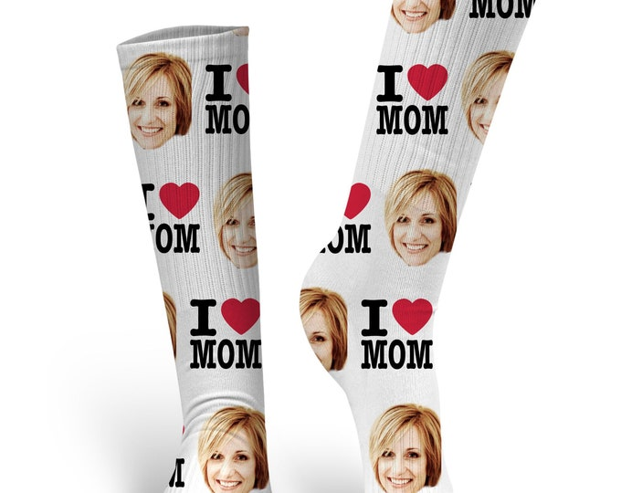 Mother's Day Socks, Custom Face Socks, I love Mom socks, Custom Photo Socks, Personalized Socks, Custom Printed Socks, Mom Socks