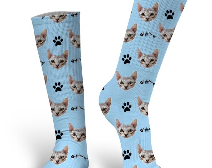 Custom Cat Socks - Photo Socks - Funny Socks - Stocking Stuffer - Cat Face Socks - Custom Printed Socks - Novelty Socks - Cat Lover Gift