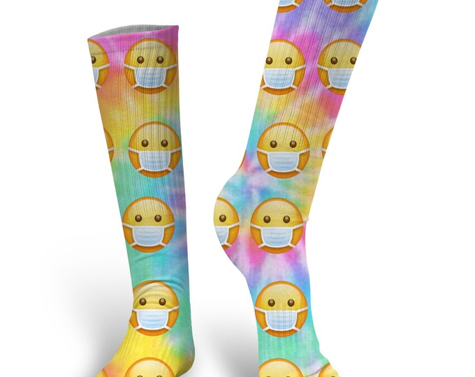 Tie Die Face Mask Emoji socks, Face Mask Emoji Socks, Face Mask Socks, Face Mask Emoji