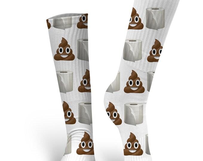 Toilet Paper and Poop Emoji  Socks, Custom Poop Emoji Socks Socks, Custom Photo Socks, Custom Socks, Personalized Socks, Toilet Paper Socks