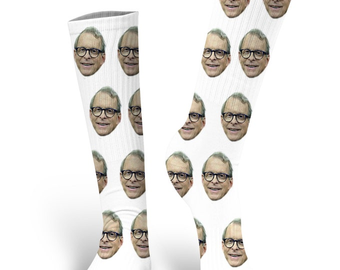 Custom Face Socks, Governor Mike Dewine  Socks, Dewine Socks, Mike Dewine Face Socks, Governor Mike Dewine, Ohio  Governor