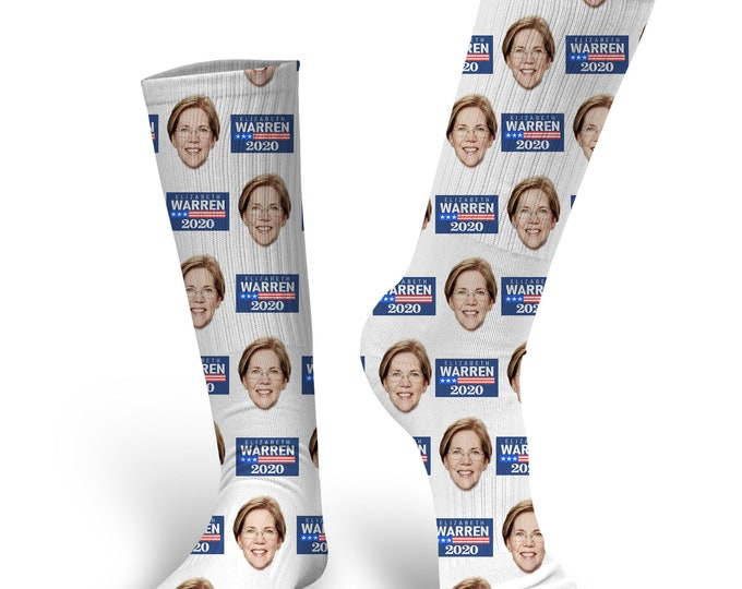 Custom Face Socks, Elizabeth Warren Socks, Elizabeth Warren, Elizabeth Warren Face Socks, 2020 Presidential Socks, Presidential Socks