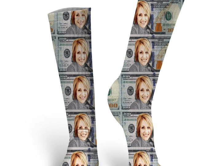 Custom Face Socks- Money Socks - Photo Socks- Put your Face on socks, Cat Socks, Custom Dog Socks, Personalized Face Socks, 100 dollar bill