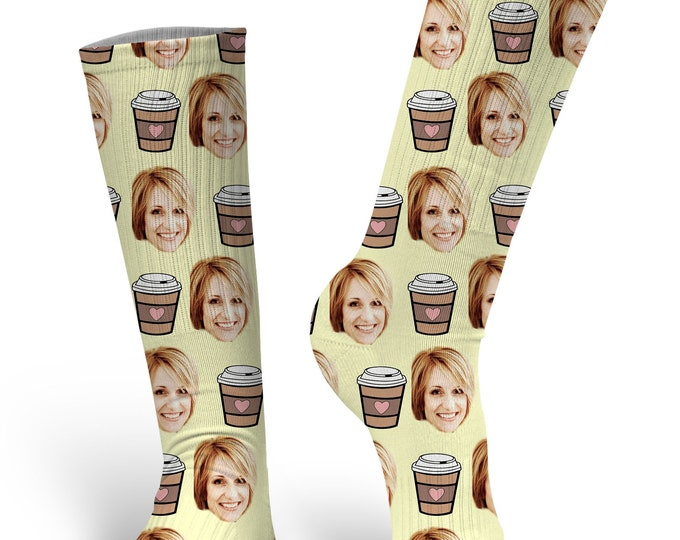 Custom Face Socks, Custom Photo Socks, Custom Socks, Personalized Socks, Custom Printed Socks, Picture Socks, Coffee Socks, Latte Socks