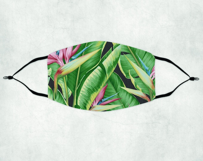 Tropical Face Mask, Face Mask with Filter, Bird of Paradise Face Mask, Tropical Mask