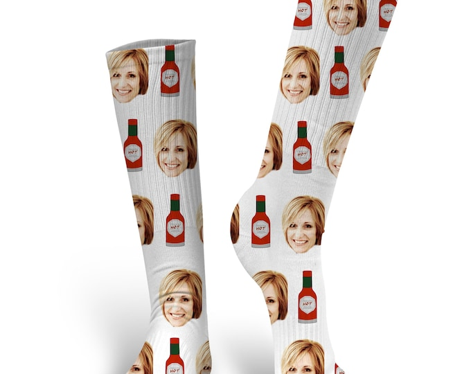 Custom Face Socks, Custom Hot Sauce Socks, Custom Photo Socks, Custom Socks, Personalized Socks, Picture Socks, Hot Sauce Socks