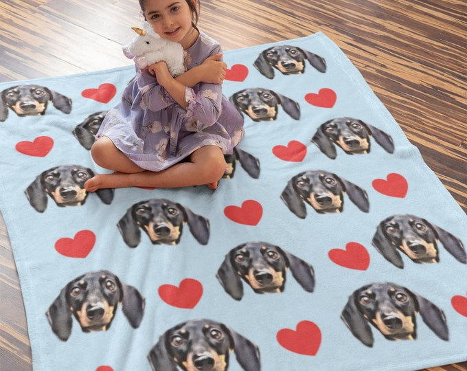 Custom Pet Portrait Blanket - Face Blanket - Photo Blanket - Fleece Blanket - Dog Portrait Gift - Personalized Dog Portrait - Throw Blanket