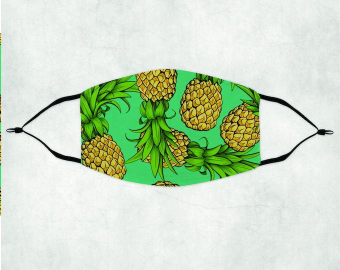 Tropical Pineapple Face Mask, Face Mask with Filter, Face Mask, Pineapple Face Mask, Pineapple Mask