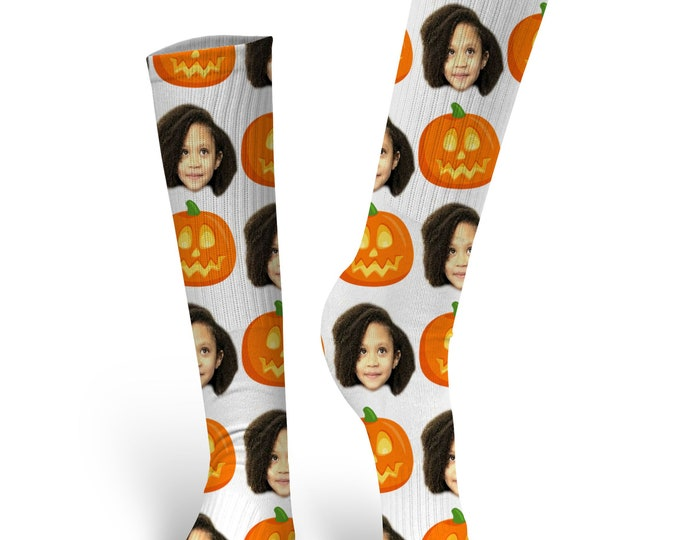 Custom Face Socks, Custom Photo Socks, Custom Socks, Personalized Socks, Custom Socks, Picture Socks, Pumpkin Socks