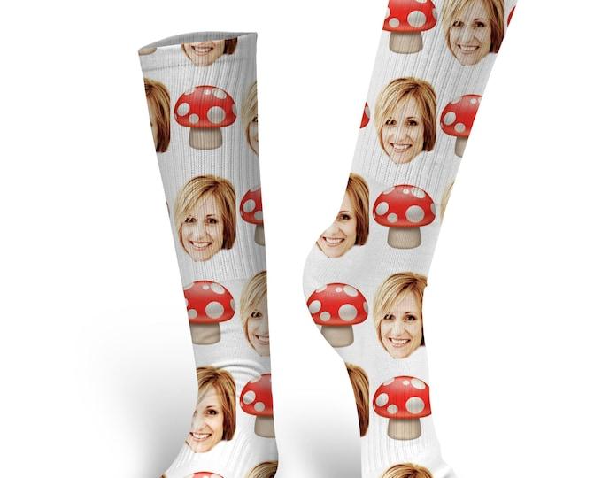 Custom Face Socks, Custom Photo Socks, Custom Socks, Personalized Socks, Custom Socks, Picture Socks, Mushroom Emoji Socks