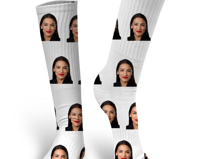 AOC Socks, Alexandria Ocasio-Cortez Socks, AOC, Custom Socks, Custom Face Socks