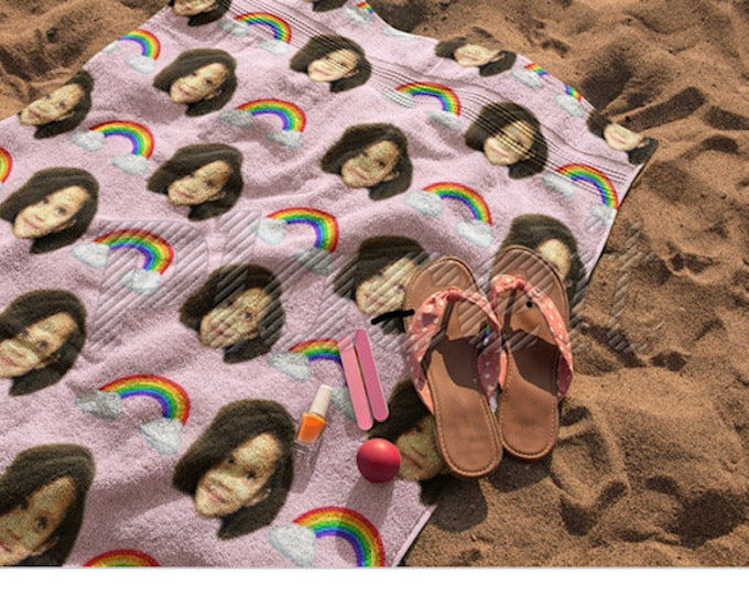 Custom Face Beach Towel, Custom Photo Towel, Custom Beach Towel, Personalized Beach Towel, Beach Towel