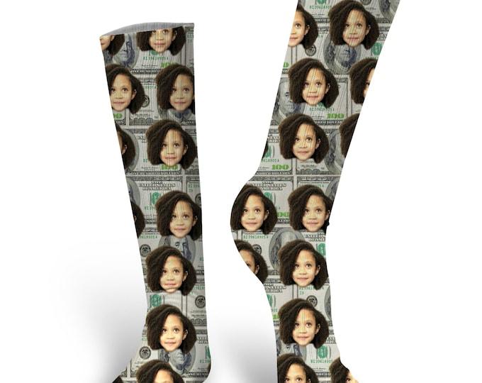 Custom Face Socks- Money Socks - Photo Socks- Put your Face on socks, Cat Socks, Custom Dog Socks, Personalized Face Socks, 100 dollar bill