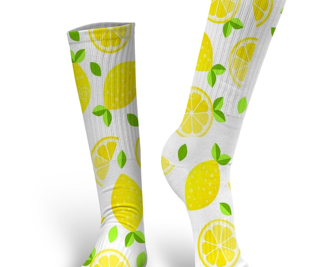 Lemon Socks, Custom Lemon Socks, Emoji Socks, Wedding Socks, Novelty Socks