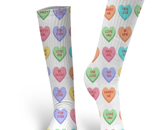 Valentines Day Socks, Custom Socks, Be My Valentine Socks, Valentines Socks, Heart Socks, Conversation Heart Socks