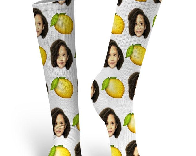 Custom Face Socks, Custom Photo Socks, Custom Socks, Personalized Socks, Custom Printed Socks, Picture Socks, Lemon Socks