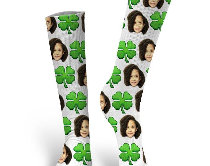 Custom Face Socks, Custom Photo Socks, Custom Socks, Personalized Socks, Custom Printed Socks, Picture Socks, Shamrock Socks, Clover Socks