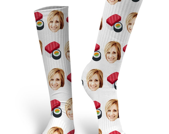 Custom Face Socks, Custom Sushi Socks, Custom Photo Socks, Custom Socks, Personalized Socks, Custom Socks, Picture Socks, Sushi Socks