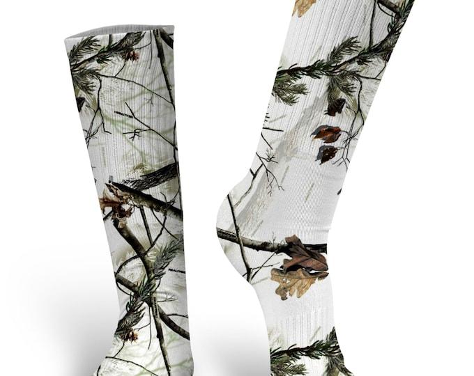 White Camouflage Socks, Camo Socks, Custom Socks, Camo, White Camo Socks -  Novelty Crew Socks