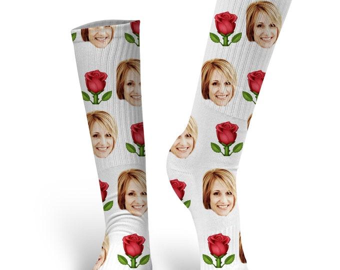 Valentines Day Socks, Custom Dog Socks - Put Your Dog on a Sock, PupSocks, Be My Valentine Socks, Valentines Socks, Rose Socks