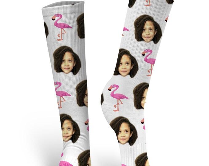 Custom Face Socks, Custom Photo Socks, Custom Socks, Personalized Socks, Custom Socks, Picture Socks, Flamingo Socks